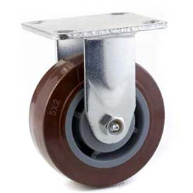 "General Duty Rigid Plate Caster 5"" PU on PP Wheel, Single Ball Bearing, 2-1/2""x3-5/8"" Plate, Maroon"
