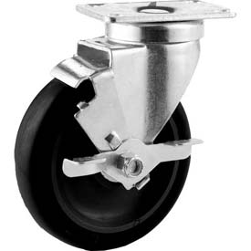 "General Duty Swivel Plate Caster 5"" Poly Wheel Brake, Dual Ball Bearing, 2-3/4""x3-3/4"" Plate, Black"