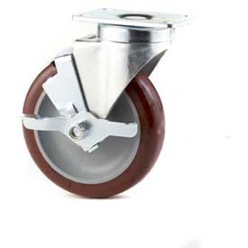 "GD Swivel Plate Caster 5"" PU on PP Wheel Tread Brake, Delrin Bearing, 3-1/8""x4-1/8"" Plate, Maroon"