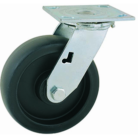 "Heavy Duty Swivel Caster 5"" Poly Wheel Nylon Brake, Delrin Bearing, 4"" x 4-1/2"" Plate, Black"