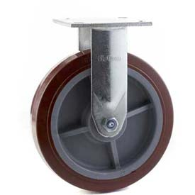 """HD Rigid Caster 6"""" Mold On Rubber on Cast Iron Wheel, Roller Bearing, 4""""x4-1/2"""" Plate, Black"""