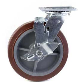 "HD Swivel Caster 6"" PU on PP Wheel Total Lock Brake, Delrin Bearing, 4""x4-1/2"" Plate, Maroon"