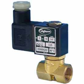"Jefferson Valves, 1/4"" 2 Way Solenoid MicroValve12V DC Forged Brass Compact Body"