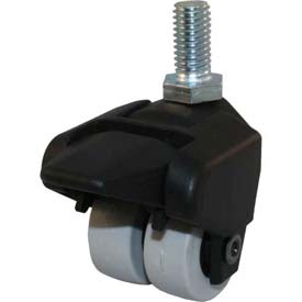 "Jacob Holtz X-CASTER 1-1/2"" Display Caster 3/8""-16 x 1-1/2"" Threaded Stem Brake TPR on Poly Core"