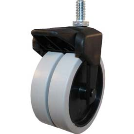 "Jacob Holtz X-CASTER 4"" Display Caster 5/16""-18 x 1-1/2"" Threaded Stem Brake Poly on Poly Core"