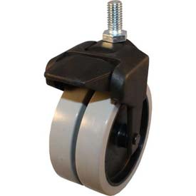 "Jacob Holtz X-CASTER 4"" Display Caster 5/16""-18 x 1-1/2"" Threaded Stem Brake TPR on Poly Core"