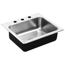 Just Mfg Single Bowl, Drop In, 18 Ga. ADA,W/Faucet Ledge SS Sink, SLADA1921A3,6.5,DCR