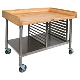 "John Boos BAK02 60""W x 30""D Maple Top Mobile Prep Table w/ Stainless Steel Legs, Shelf and Pan Rack"