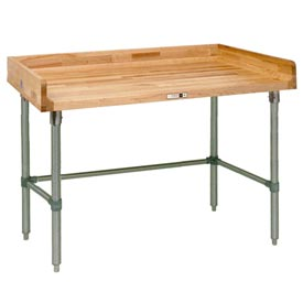 "John Boos DNB05  96""W x 24""D Maple Top Table with Galvanized Legs and Bracing"