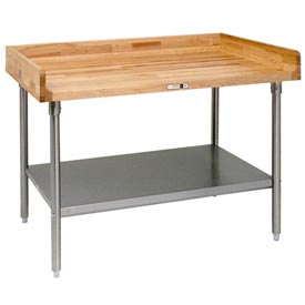 "John Boos DNS12  120""W x 30""D Maple Top Table with Galvanized Legs and Shelf"