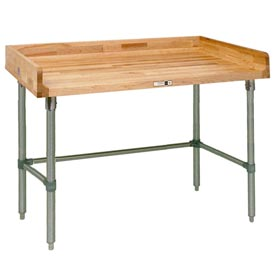 "John Boos DSB11  48""W x 36""D Maple Top Table with Stainless Steel Legs and Bracing"