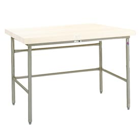 Bakers Production Table - Stainless Steel Frame with Bin Stops 84X36