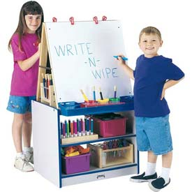 Jonti-Craft® Rainbow Accents® 2 Station Easel - Gray Top/Navy Edge