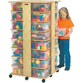 """Jonti-Craft® 32 Cubbie Mobile Tower With Clear Tubs, 27""""W x 27""""D x 53-3/4""""H, Birch Plywood"""