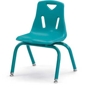"Jonti-Craft® Berries® Plastic Chair with Powder Coated Legs - 14"" Ht - Set of 6 - Teal"