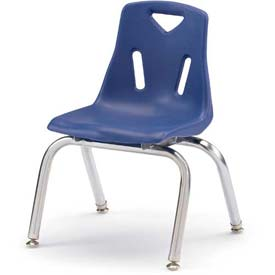 "Jonti-Craft® Berries® Plastic Chair with Chrome-Plated Legs - 10"" Ht - Blue"