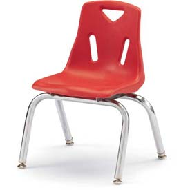 "Jonti-Craft® Berries® Plastic Chair with Chrome-Plated Legs - 10"" Ht - Set of 6 - Red"