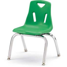 "Jonti-Craft® Berries® Plastic Chair with Chrome-Plated Legs - 10"" Ht - Set of 6 - Green"