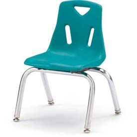 "Jonti-Craft® Berries® Plastic Chair with Chrome-Plated Legs - 12"" Ht - Set of 6 - Teal"