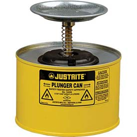 Justrite Plunger Can, 2-Quart, Yellow, 10218