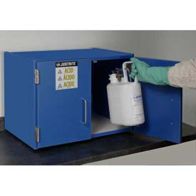 "Justrite 6 x 2-1/2 Liter Bottle Cap., Wood Laminate Storage Acid Cabinet, 24""Wx 6""Dx18-1/2""H, Blue"