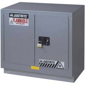 "Justrite 19 Gallon 2 Door, Manual, Under Fume Hood Cabinet, 30""W x 21-5/8""D x 35-3/4""H, Silver"