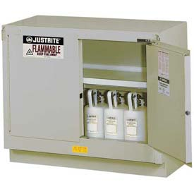 "Justrite 31 Gallon 2 Door, Self-Close, Under Fume Hood Cabinet, 48""W x 21-5/8""D x 35-3/4""H, Silver"
