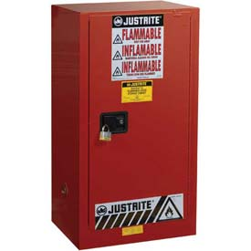 "Justrite 20 Gallon 1 Door, Self-Close, Paint & Ink Cabinet, 23-1/4""W x 18""D x 44""H, Red"