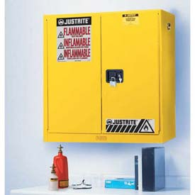 "Justrite 17 Gallon 2 Door, Manual, Wall Mount, Flammable Cabinet, 43""W x 18""D x 24""H, Yellow"