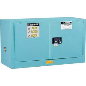 "Justrite 17 Gallon 2 Door, Self-Close, Piggyback, Acid Corrosive Cabinet, 43""W x 18""D x 24""H, Blue"