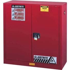 "Justrite 30 Gallon 2 Door, Manual, Flammable Cabinet, 43""W x 18""D x 44""H, Red"