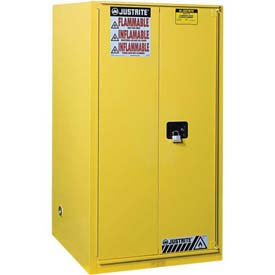 "Justrite 96 Gallon 2 Door, Self-Close, Paint & Ink Cabinet, 34""W x 34""D x 65""H, Yellow"