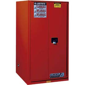 "Justrite 96 Gallon 2 Door, Self-Close, Paint & Ink Cabinet, 34""W x 34""D x 65""H, Red"