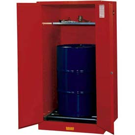 "Justrite 1-55 Gal. Drum, Manual, Flammable Cabinet, Incl. Drum Rollers, 34""W x 34""D x 65""H, Red"