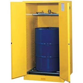 "Justrite 1-55 Gal. Drum, Manual, Flammable Cabinet, Incl. Drum Rollers, 34""W x 34""D x 65""H, White"