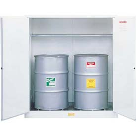 "Justrite 2-55 Gal. Drum, Manual, Flammable Cabinet, Incl. Drum Support, 59""W x 34""D x 65""H, White"