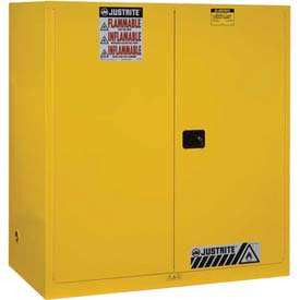 """Justrite 2-55 Gal. Drum, Self-Close, Flammable Cabinet, Incl. Drum Support, 59""""Wx34""""Dx65""""H,Yellow"""