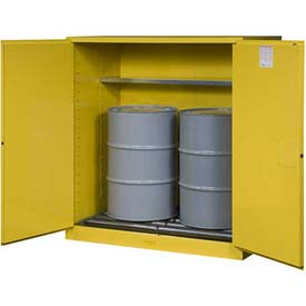 "Justrite 2-55 Gal. Drum, Manual, Flammable Cabinet, Incl. Drum Rollers, 59""W x 34""D x 65""H, Yellow"