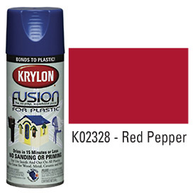 Krylon Fusion For Plastic Paint Gloss Red Pepper (Safety Red) - K02328007 - Pkg Qty 6