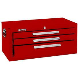 "Kennedy® 2603R 26"" 3-Drawer Add-On Base w/ Friction Slides - Red"