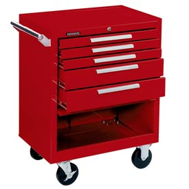 "Kennedy® 275R 27"" 5-Drawer Roller Cabinet w/ Friction Slides - Red"