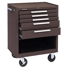 "Kennedy® 275XB 27"" 5-Drawer Roller Cabinet w/ Ball Bearing Slides - Brown"