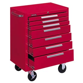 "Kennedy® 277XR 27"" 7-Drawer Roller Cabinet w/ Ball Bearing Slides - Red"
