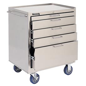 Kennedy 28085 5-Drawer Stainless Steel Roller Cabinet Class 100 Cleanroom