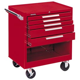 "Kennedy 295XR 29"" 5-Drawer Roller Cabinet w/ Friction Slides Red"