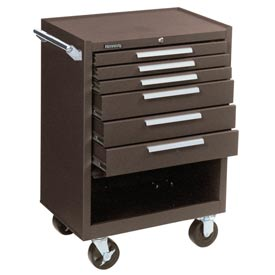 "Kennedy® 376XB 27"" 6-Drawer Roller Cabinet w/ Ball Bearing Slides - Brown"