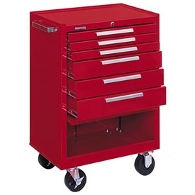 "Kennedy® 376XR 27"" 6-Drawer Roller Cabinet w/ Ball Bearing Slides - Red"