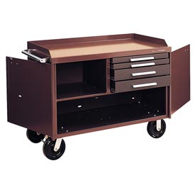 "Kennedy® 4804B 48"" 4-Drawer Industrial Mobile Bench - Brown"