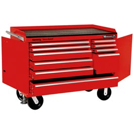"Kennedy® 4810R 48"" 10-Drawer Industrial Mobile Bench - Red"
