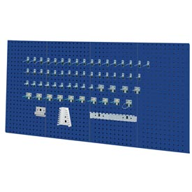 Kennedy Manufacturing, 50004BL, 4-Panel Sq. Hole Toolbaord Set w/60-Pc Toolholder Set - Classic Blue